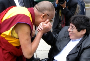 Dalai Lama greets lady from Adas Israel by Keri Douglas