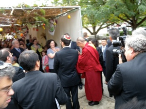 Dalai Lama at the Sukkah Adas Israel by Keri Douglas