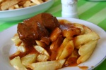 "Mum Vicky's (@VickyChatziandr) special ""kokkinisto"" (κοκκινιστό) from the island of Samos: a meat stew in red sauce with sweet Samos wine! Favourite dish ever!  - with fries, unbeatable!"