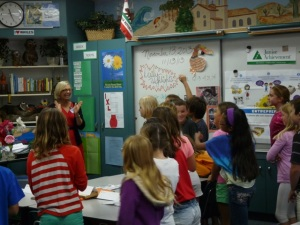 Claudia Obertreis teaching entrepreneurship to 4th Grade class in San Diego, CA