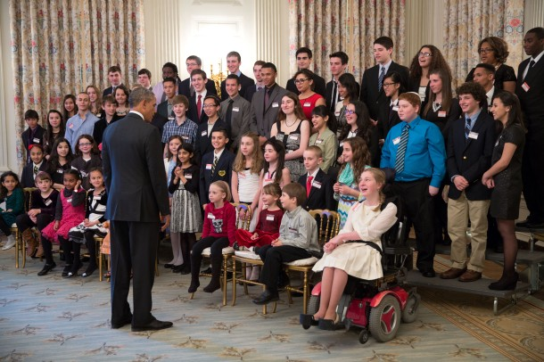 President Barack Obama talks with students in the State Dining Room prior to the White House Student Film Festival in the East Room of the White House, Feb. 28, 2014. (Official White House Photo by Pete Souza)