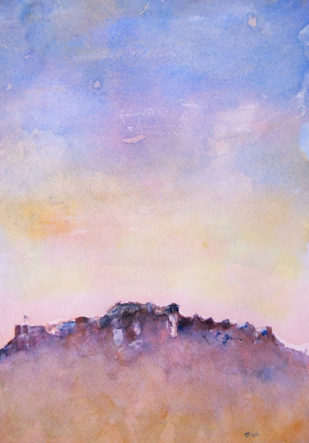 Acropolis color study - 2, watercolor, June 2014, by U.S. Ambassador to Greece David D. Pearce