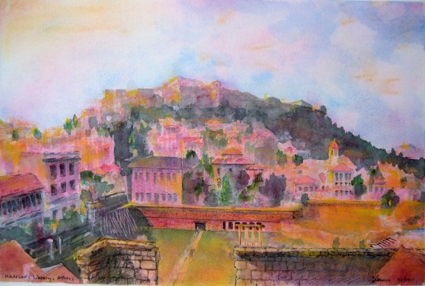 Acropolis, view from Hadrian's Library - 2, watercolor/pen and ink/pastel, March 1 2014, by U.S. Ambassador to Greece David D. Pearce