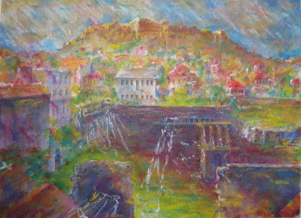 Acropolis, view from Hadrian's Library - 3, watercolor/pastel, March 28 2014, by U.S. Ambassador to Greece David D. Pearce