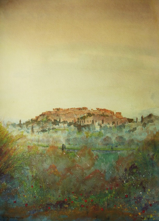 Acropolis, view from Kolonos Agoraios, above Agora, watercolor, May 10 2014, by U.S. Ambassador to Greece David D. Pearce