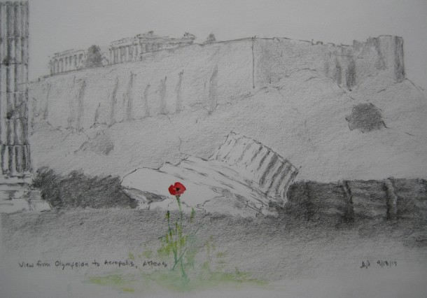 Acropolis, view from Olympeion, with poppy, pencil sketch/watercolor, September 13 2014, by U.S. Ambassador to Greece David D. Pearce